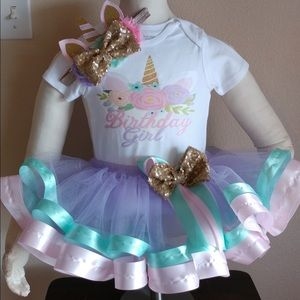 Unicorn birthday party tutu outfit